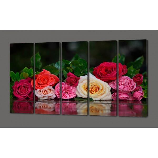 Сегментная картина Розы и роса 88*64 см Код: 478.5к.88