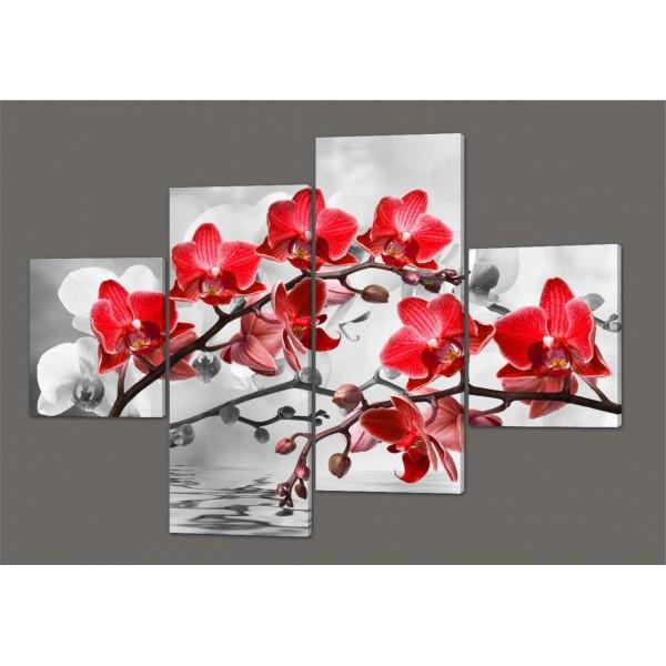 Модульная картина Веточка красной орхидеи 160*114 см Код: 247.4k.160