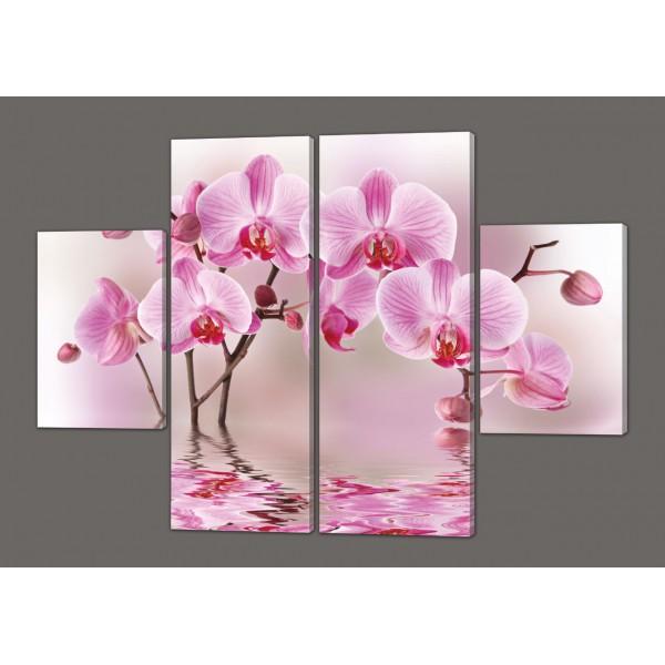 Модульная картина на кожзаме Орхидея 120*93 см  Код: 202.4k.120