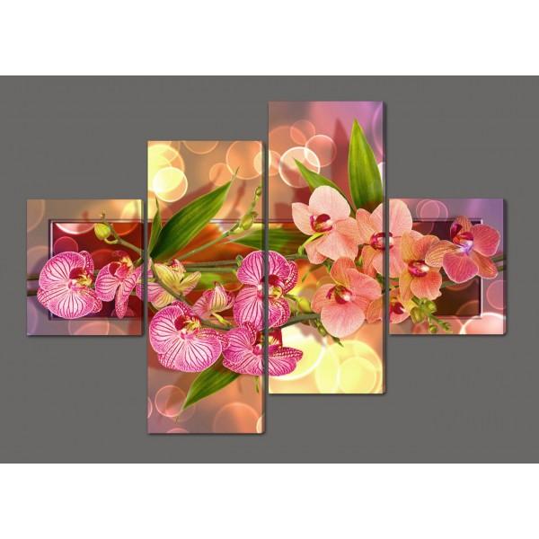 Модульная картина на искусственной коже Нежные орхидеи 160*114 см Код: 539.4к.160
