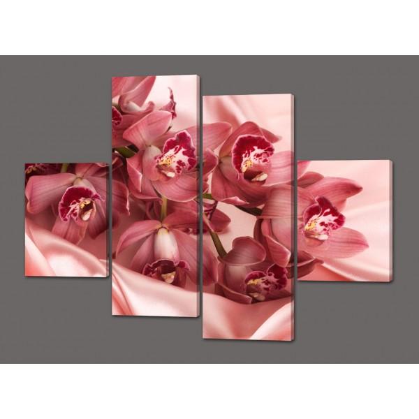 Модульная картина Розовые орхидеи 120*93 см Код: 489.4к.120