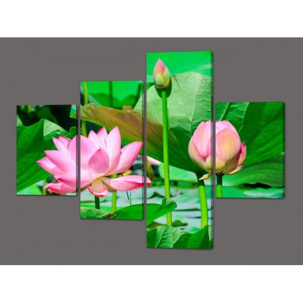 Модульная картина цветы Лотоса 120*96,5 см Код: 552.4к.120