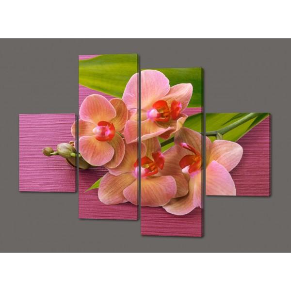 Модульная картина Нежные орхидеи в спальню 120*93 см  Код: 497.4к.120