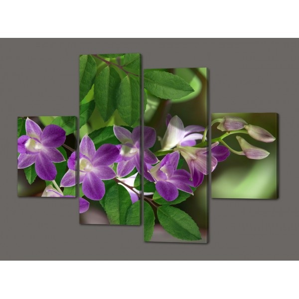 Модульная картина Цветы 120*93 см  Код: 500.4к.120