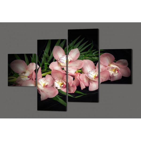 Модульная картина Розовые орхидеи 160*114 см  Код: 504.4к.160