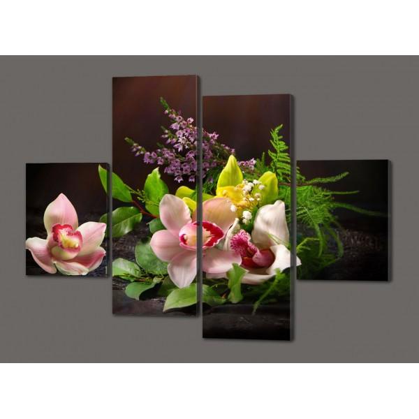Модульная картина Цветы 120*93 см  Код: 506.4к.120