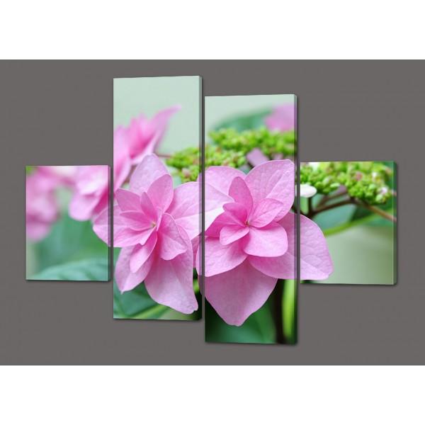 Модульная картина Розовые цветы 120*93 см  Код: 454.4к.120
