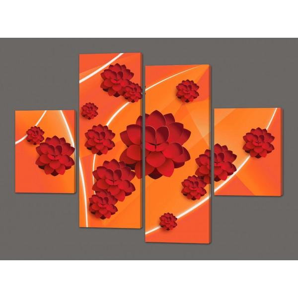 Картины на кожзаме модульные Цветы арт 120*93 см  Код: 209.4k.12