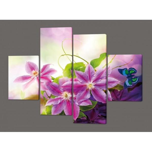 Модульная картина на искусственной коже Цветы 120*93 см  Код: 216.4k.120