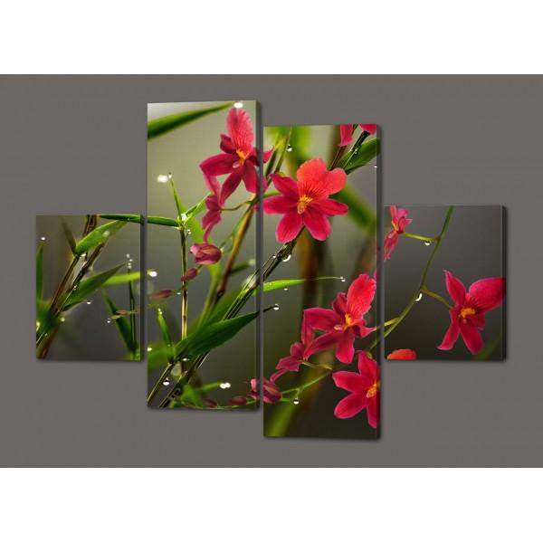 Сегментная модульная картина Цветы 120*93 см  Код: 481.4к.120