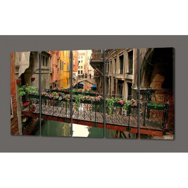 Модульная картина Цветы. Старый дворик 110*64 см  Код: 474.5к.110