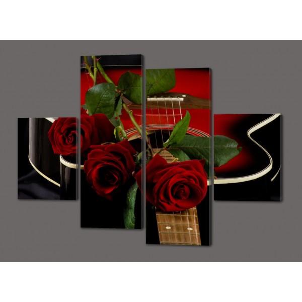 Панно из четырех частей (модульная) картина Розы и гитара 120*93 см  Код: 485.4к.120