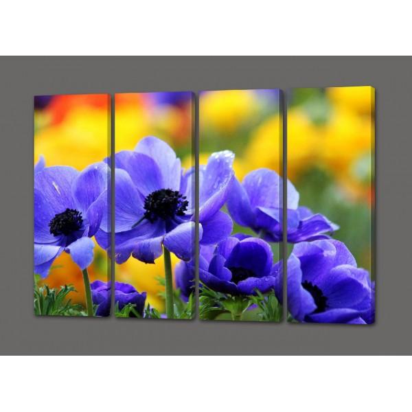 Модульная картина Цветы 88*64 см (картина из 4-х частей)Код: 465.4к.88