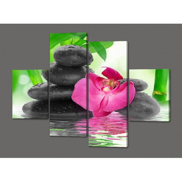 Модульная картина Орхидеи и камни 120*93 см  Код: 456.4к.120