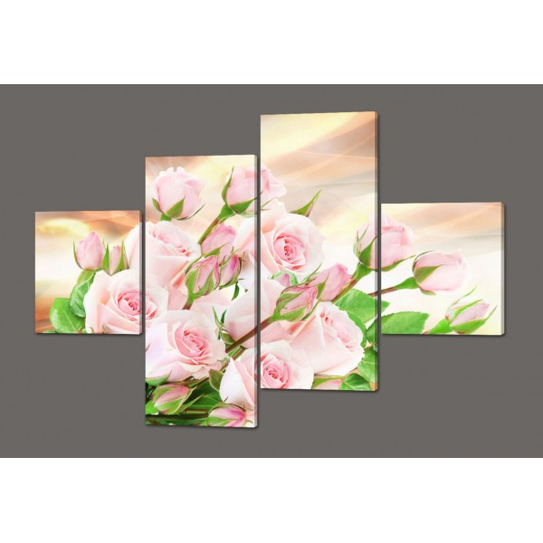 Модульная картина Нежные розы 160*114 см  Код: 450.4к.160