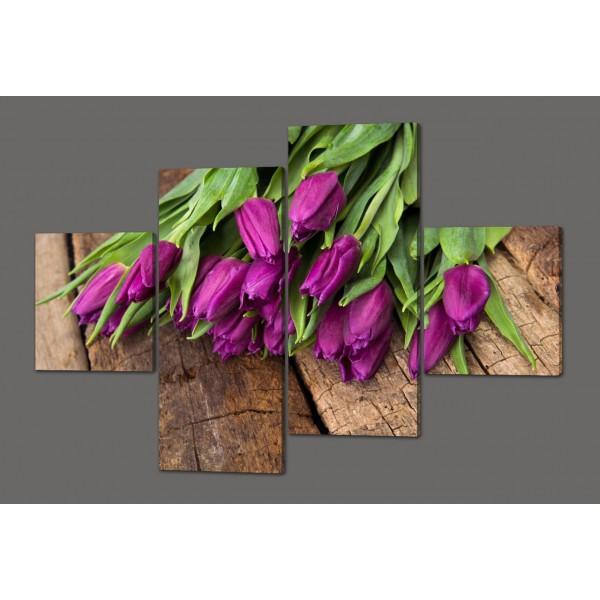 Модульная картина Тюльпаны 160*114 см  Код: 449.4к.160