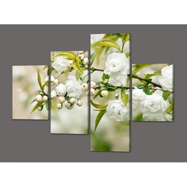 Модульная картина Белые розочки 120*96,5 см  Код: 406.4к.120
