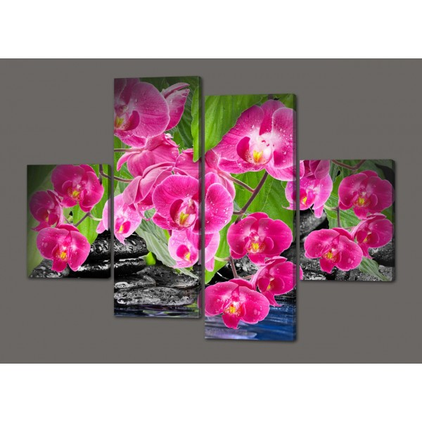 Модульная картина Орхидеи 120*93 см  Код: 444.4к.120