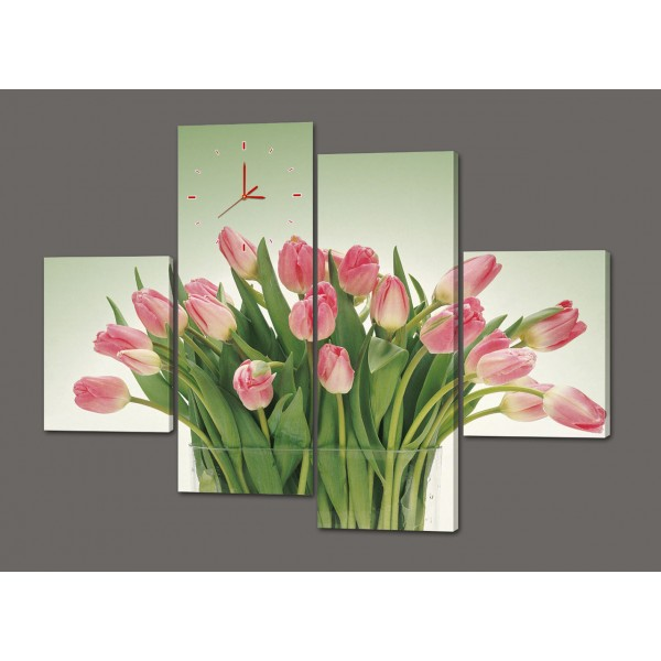 Модульная картина с часами Букет из тюльпанов 120*93 см  Код: 434.4к.120