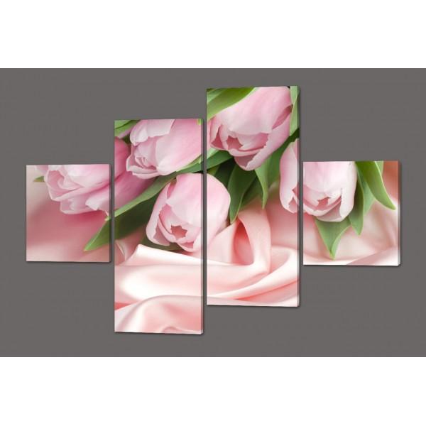 Модульная картина Розовые тюльпаны 160*114 см  Код: 411.4к.160