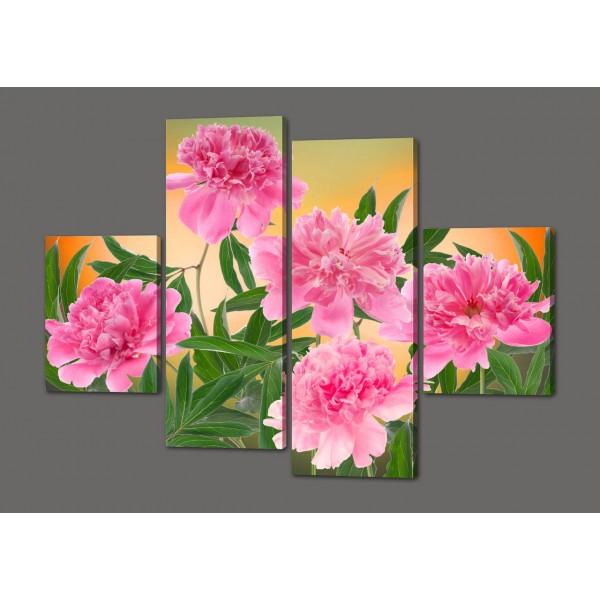 Модульная картина цветы Пионы 120*93 см  Код: 405.4к.120