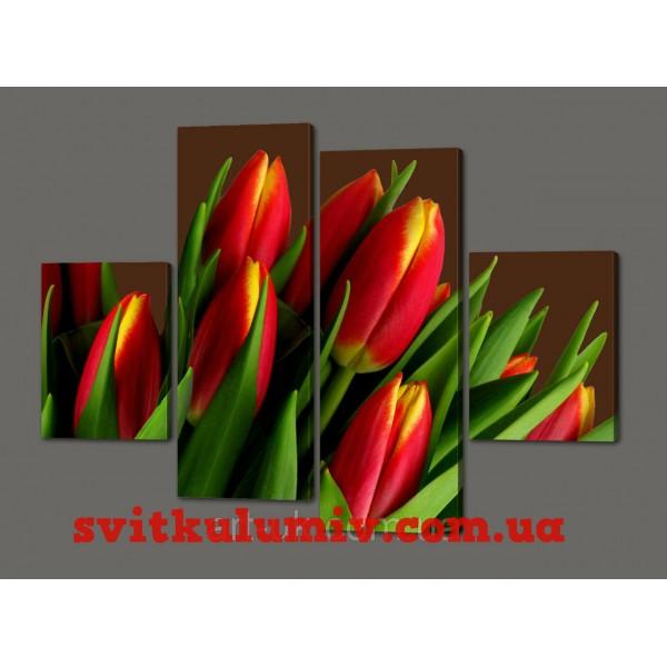 Модульная картина цветы Тюльпаны 120*93 см Код: 365.4к.120