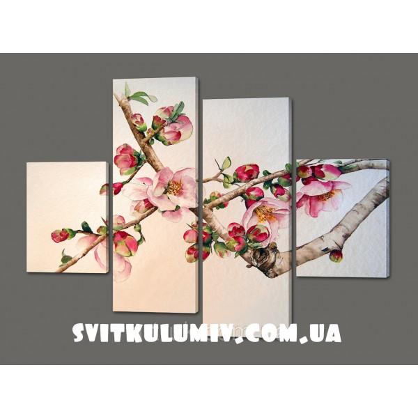Модульная картина Цветущая вишня в Японии 120*93 см Код: 362.4к.120