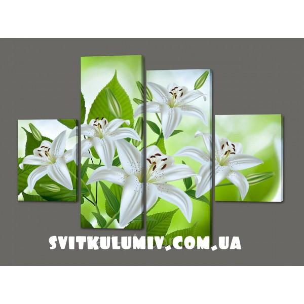 Модульная картина цветы Лилии 120*93 см Код: 325.4к.120