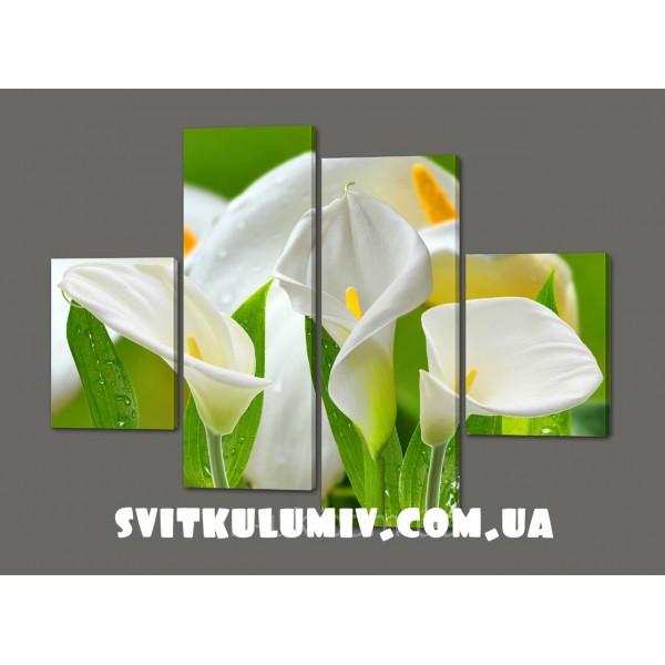 Модульные картины цветы Каллы 120*93 см Код: 297.4K.120