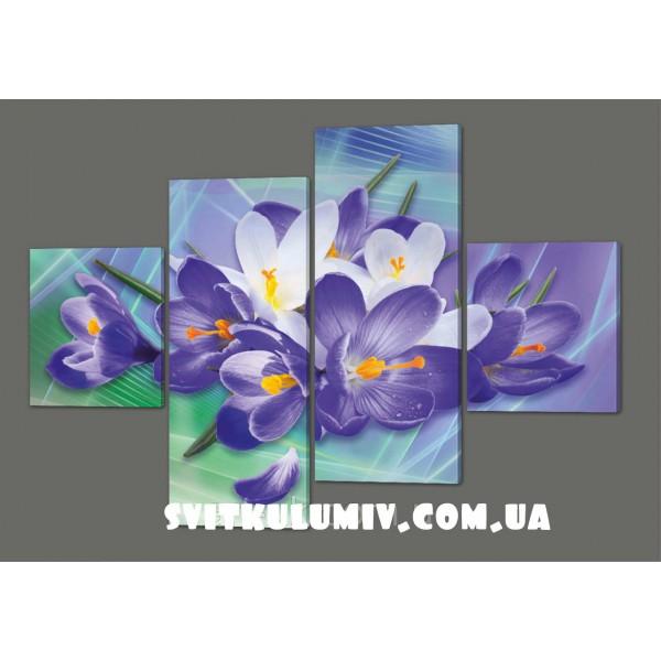 Модульная картина Цветы 160*114см Код: 262.4k.160
