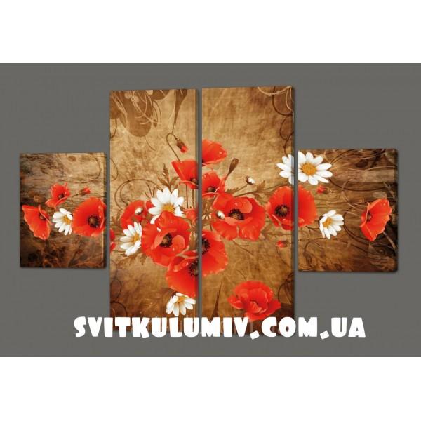 Картина модульная на кожзаме Маки и ромашки 120*93 см Код: 226.4k.120