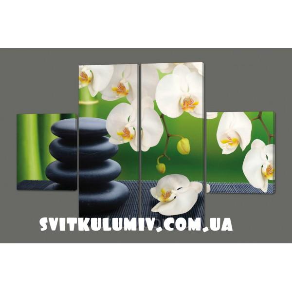 Картина модульная на коже Орхидеи и камни 120*93 см Код: 217.4k.120