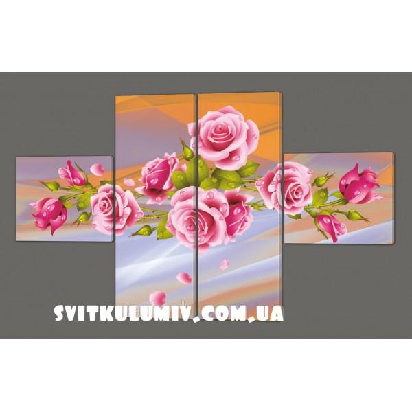 Модульная картина Розы 120*93 см Код: 199.4k.120