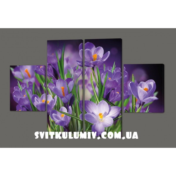 Модульная картина на кожзаме Цветы 120*93 см Код: 215.4k.120