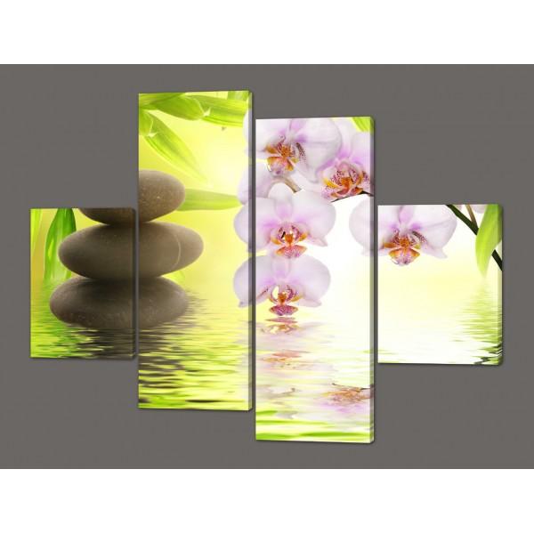 Картина модульная на кожзаме Орхидеи 120*93 см Код: 234.4k.120