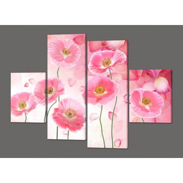 Модульная картина на кожзаме Розовые цветы 120*93 см Код: 233.4k.120