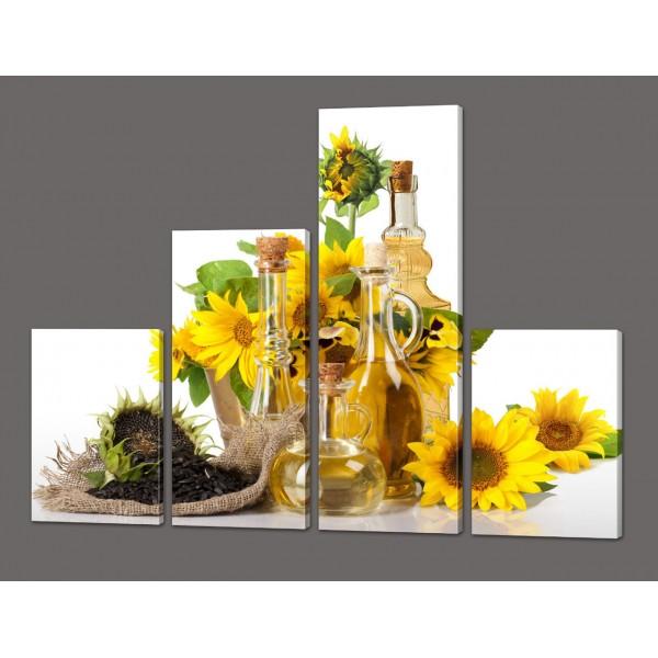 Модульная картина Натюрморт цветы подсолнуха 120*96,5 см Код: 576.4к.120