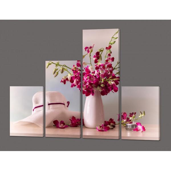 Модульная картина Ваза с орхидеями 120*96,5 см Код: 578.4к.120