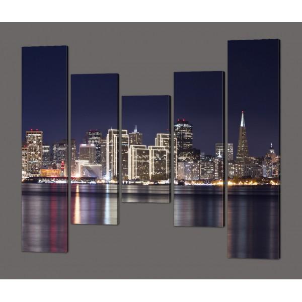 Модульная картина Ночной Сан Франциско 140*125 см Код: 580.5к.140