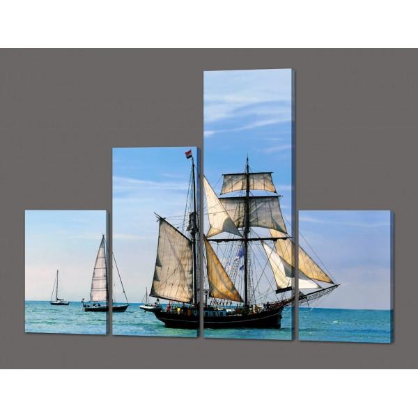 Модульная картина Корабль с парусами 120*96,5 см Код: 577.4к.120