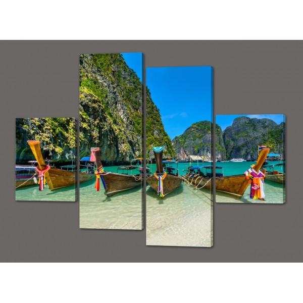 Модульная картина Лодки 120*93 см Код: 556.4к.120