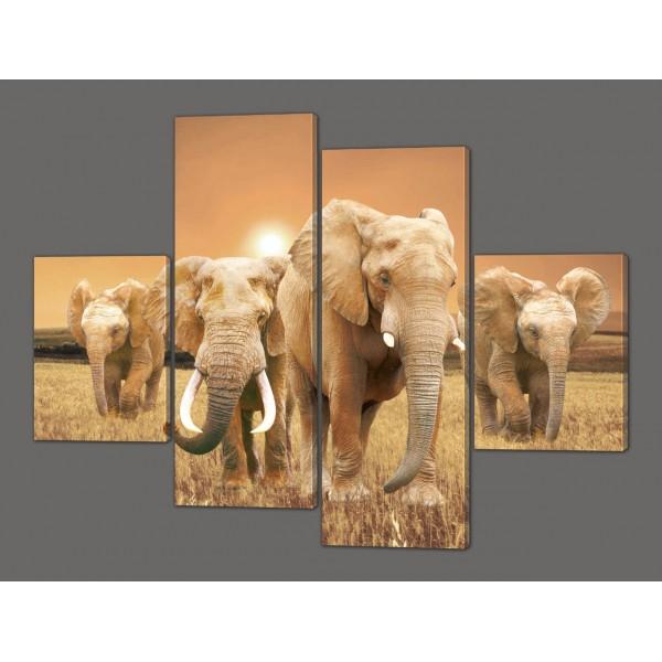 Панно из 4-ех частей Слоны (Африканский мотив) 120*93 см Код: 207.4k.120
