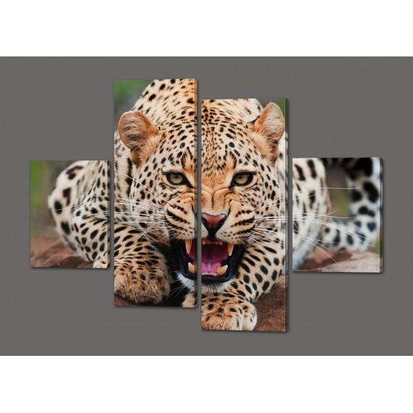 Картина из частей Леопард 120*93 см Код: 301.4к.120