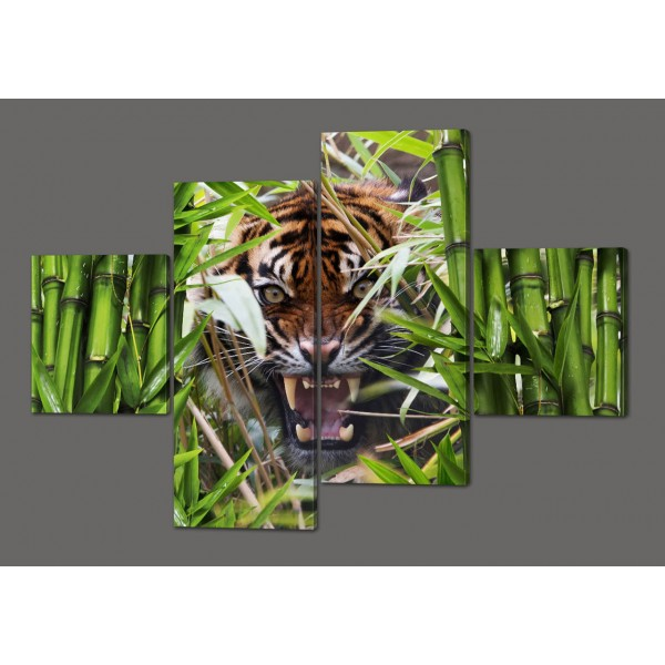 Сегментная картина Тигр и бамбук 160*114 см