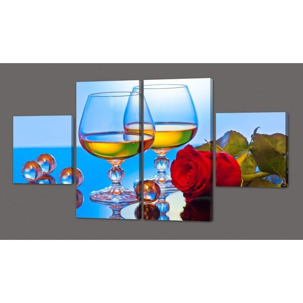 Модульная картина Вино с красной розой 116*74 см Код: 582.4к.116