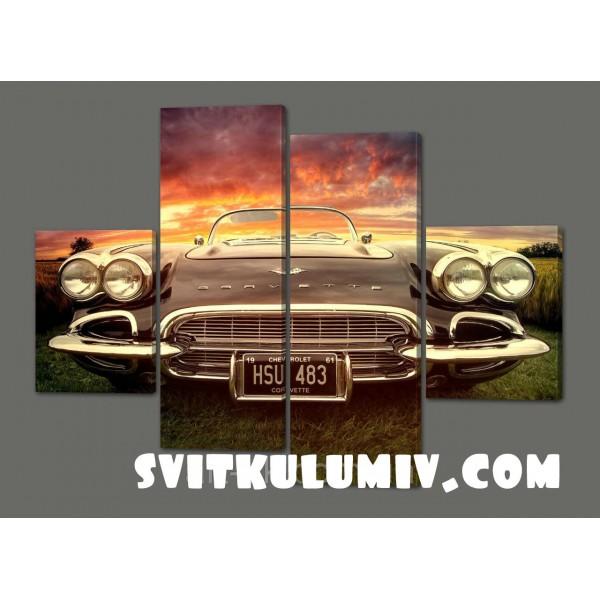 Модульная картина в ретро стиле Старое Авто 120*93 см Код: 335.4к.120