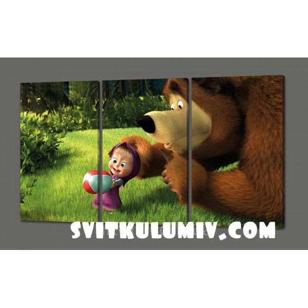 Модульная картина на кожзаме Маша и медвед 120*70 см Код: 287.3к..120
