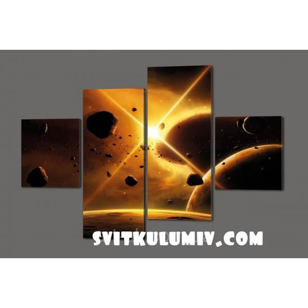 Модульная картина Космос, кометы 160*114 см Код: 389.4к.160