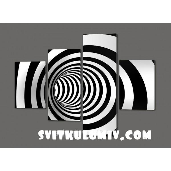 Сегментная картина Полосатый тунель( Абстракция) 120*93 см Код: 531.4к.120