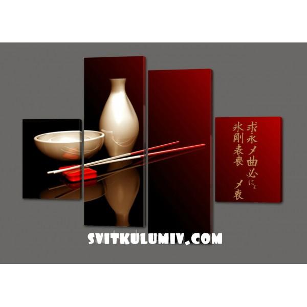 Модульная картина Японские иероглефы
